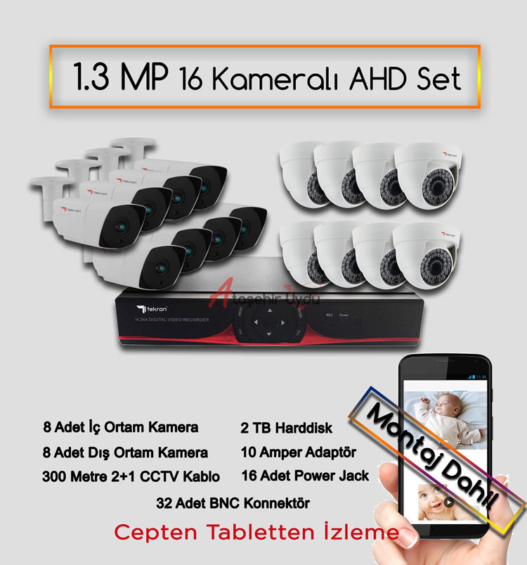 16 Kameralı 1.3 MP AHD Kamera Set
