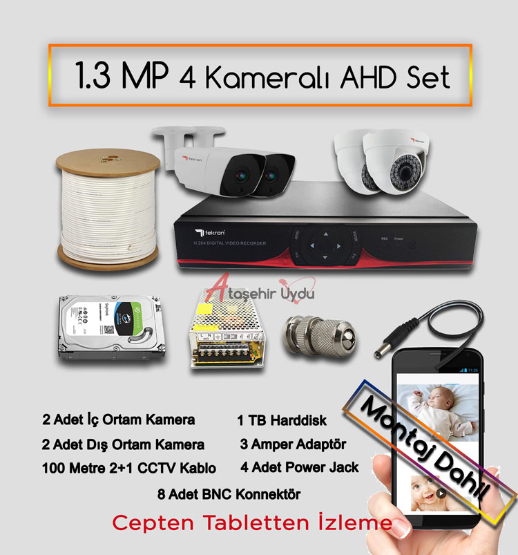 4 Kameralı 1.3 MP AHD Kamera Set