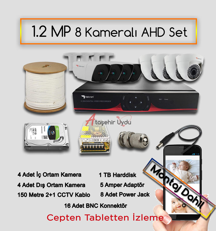 8 Kameralı 1.2 MP AHD Kamera Set